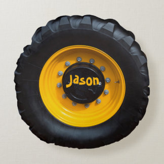 Personalized Construction Wheel Round Pillow