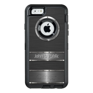 Personalized Contemporary Black and Silver OtterBox Defender iPhone Case