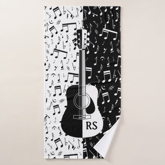 Personalized contemporary guitar design in black a bath towel set