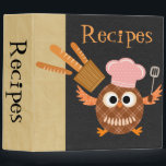 """Personalized Cooking Owl Recipe Binder<br><div class=""""desc"""">This is an awesome retro owl recipe binder that you can customize. Give this as a gift for your mom,  grandma,  dad or grandpa,  son or daughter. It makes an awesome present for the chef in your life.</div>"""
