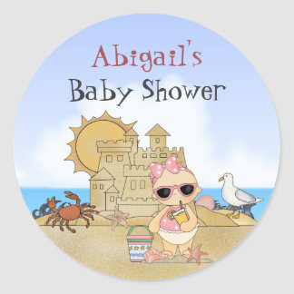 Personalized Cool Beach Baby Girl Baby Shower Classic Round Sticker
