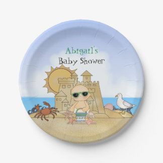 Personalized Cool Beach Baby Neutral Baby Shower Paper Plate