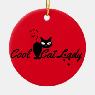 PERSONALIZED COOL CRAZY CAT LADY Add Name on Back Ceramic Ornament