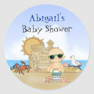 Personalized Cool Cute Beach Baby Boys Baby Shower Classic Round Sticker