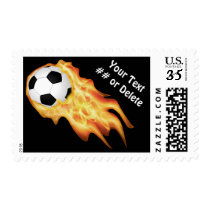Personalized Cool Flaming Soccer Stamps