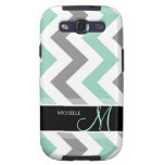 Personalized Cool Mint and Gray Chevron Samsung Galaxy SIII Case