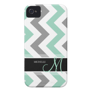 Personalized Cool Mint and Gray Chevron Case-Mate iPhone 4 Case