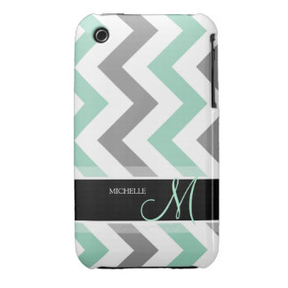 Personalized Cool Mint and Gray Chevron iPhone 3 Cover