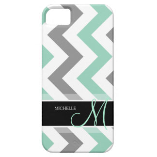 Personalized Cool Mint and Gray Chevron iPhone SE/5/5s Case