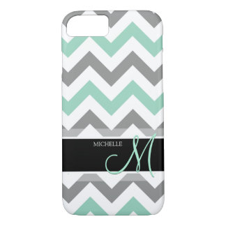 Personalized Cool Mint and Gray Chevron pattern iPhone 8/7 Case