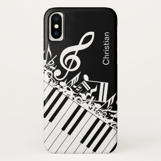 Personalized cool Musical Notes and Piano Keys iPhone XS Case