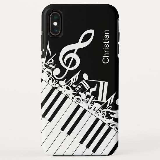 Personalized cool Musical Notes and Piano Keys iPhone XS Max Case