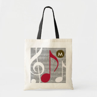 personalized cool musical notes tote bag