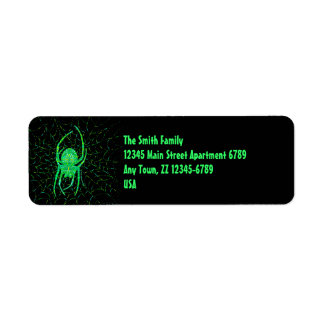 Personalized Cool Neon Green Spider Address Labels