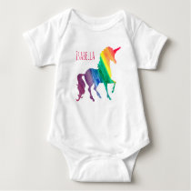 Personalized Cool Rainbow Unicorn Watercolor Baby Baby Bodysuit