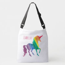 Personalized Cool Rainbow Unicorn Watercolor Girly Crossbody Bag