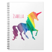 Personalized Cool Rainbow Unicorn Watercolor Girly Spiral Notebook