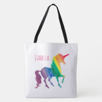 Personalized Cool Rainbow Unicorn Watercolor Girly Tote Bag