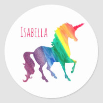 Personalized Cool Rainbow Unicorn Watercolor Kids Classic Round Sticker