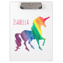 Personalized Cool Rainbow Unicorn Watercolor Kids Clipboard