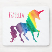 Personalized Cool Rainbow Unicorn Watercolor Kids Mouse Pad