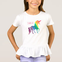 Personalized Cool Rainbow Unicorn Watercolor Kids T-Shirt