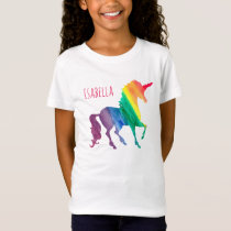 Personalized Cool Rainbow Unicorn Watercolor Kids T-Shirt