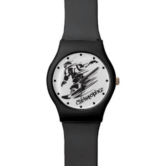 Personalized Cool Snowboarding Mountain Wrist Watch