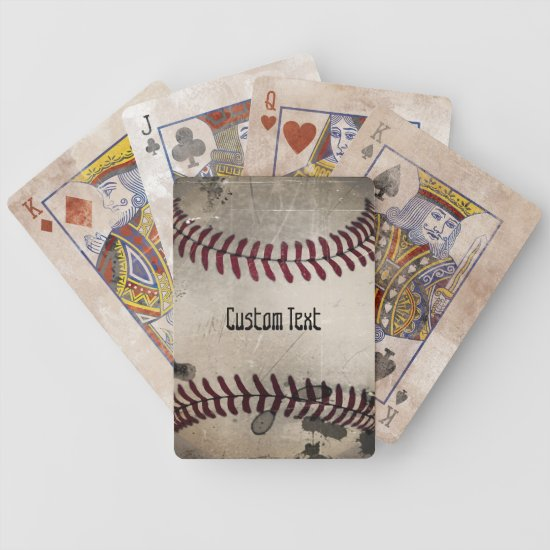 Personalized Cool Vintage Grunge Baseball Bicycle Playing Cards