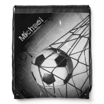 Personalized Cool Vintage Grunge Football in Goal Drawstring Backpack