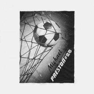 Personalized Cool Vintage Grunge Football in Goal Fleece Blanket