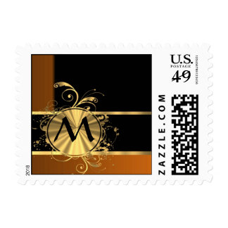 Personalized copper black and monogram postage stamp