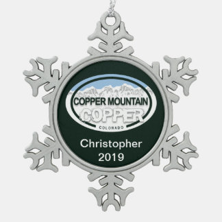 Personalized Copper Mountain Colorado Rockies Snowflake Pewter Christmas Ornament