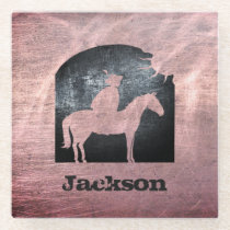 Personalized Copper Steel Metal Horse Vintage Glass Coaster