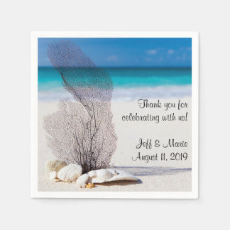 Personalized Coral Beach Wedding Napkin