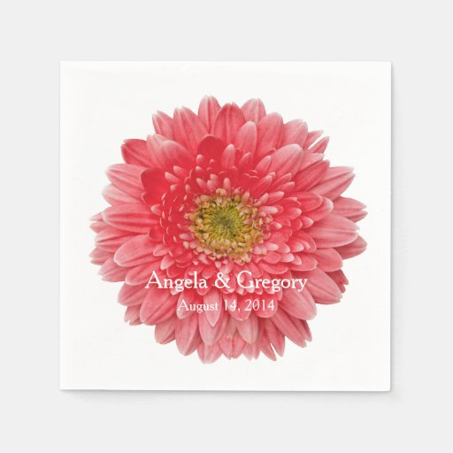 Personalized Coral Gerbera Daisy Wedding Disposable Napkins