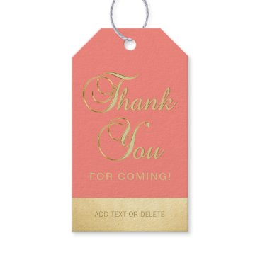 Professional Business Personalized Coral Gold THANK YOU FOR COMING favor Gift Tags