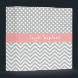 """Personalized Coral Gray Chevron Dots School Binder<br><div class=""""desc"""">A cute and girly personalized school binder with light gray polka dot and chevron patterns and a coral pink ribbon design. Trendy,  pretty and elegant.</div>"""