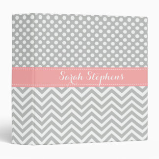 Personalized Coral Gray Chevron Dots School Binder