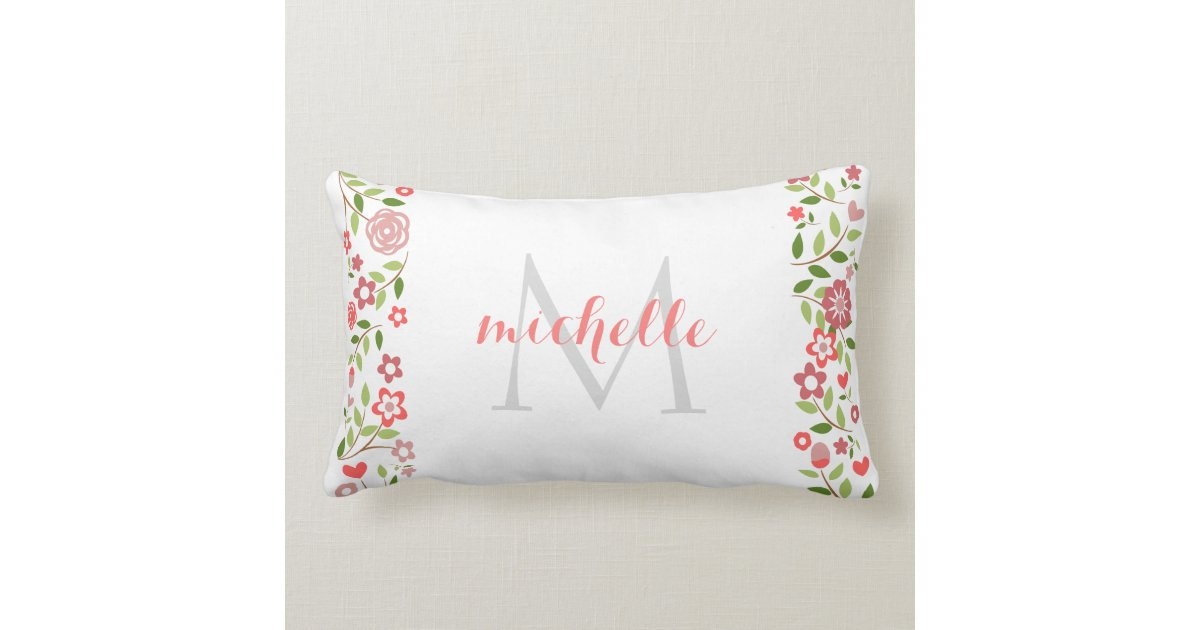 Coral Floral Throw Pillows : Personalized Coral Grey Floral Monogram Pattern Throw Pillow Zazzle