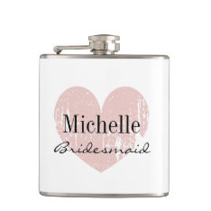 Personalized Coral Heart Hip Flask For Bridesmaid at Zazzle