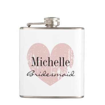 Valentines Themed Personalized coral heart hip flask for bridesmaid