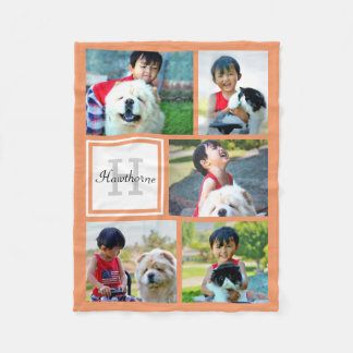 Personalized Coral Photo Collage Monogrammed Gift Fleece Blanket