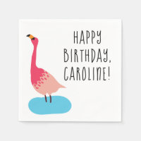 Personalized Coral Pink Flamingo Party Napkin