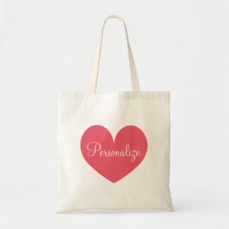 Personalized coral pink heart reusable tote bag