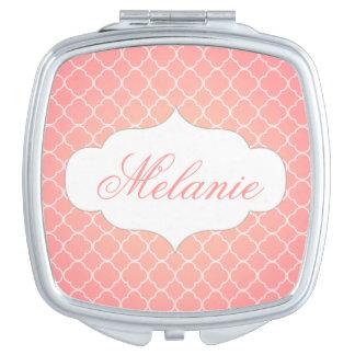 Personalized Coral Pink Quatrefoil Pattern Makeup Mirror