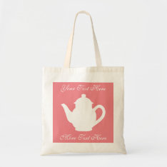 Personalized Coral Pink Tea Party Favor Tote Bags at Zazzle
