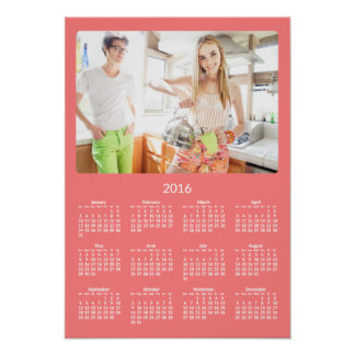 Personalized Coral Poster Yearly Calendar 2016