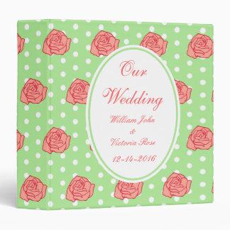 Personalized Coral Rose Wedding Scrapbook Binder