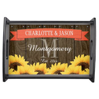 PERSONALIZED CORAL RUSTIC SUNFLOWER WEDDING SERVING TRAY